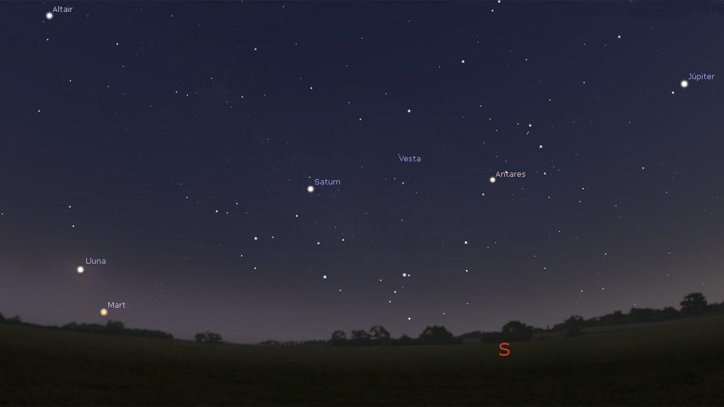 Planetari amb la situació de planetes i estels a les 22 h