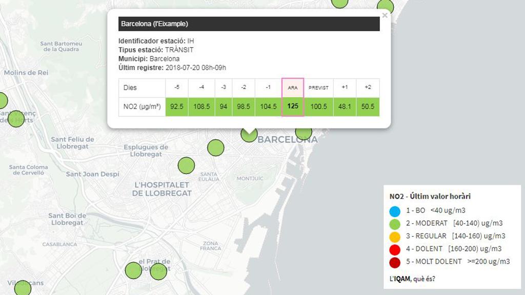 Captura de la pantalla on apareix el mapa metropolità i les dades de NO2