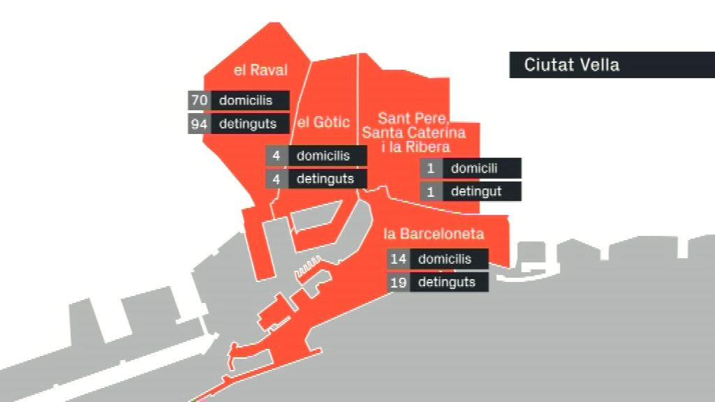 mapa de narcopisos i detencions per barris