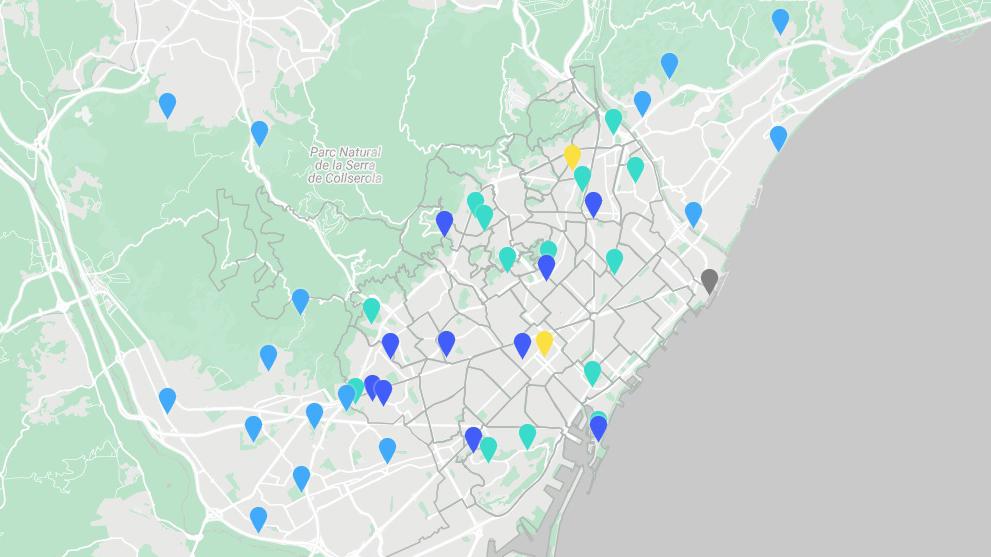 Mapa de piscines descobertes de Barcelona