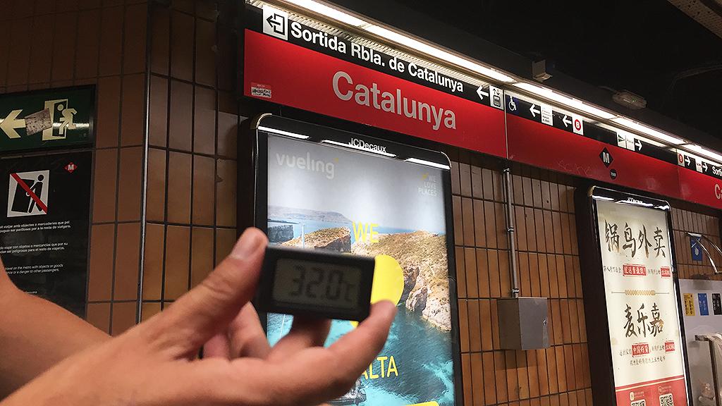 Imatge d'un termòmetre a l'andana de Catalunya