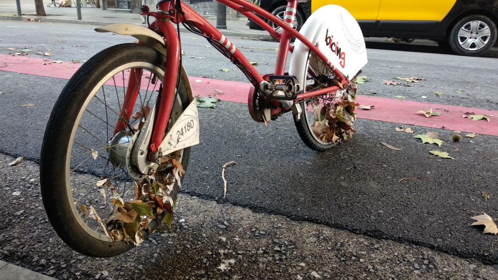 Les fulles han quedat atrapades a les rodes de les bicicletes