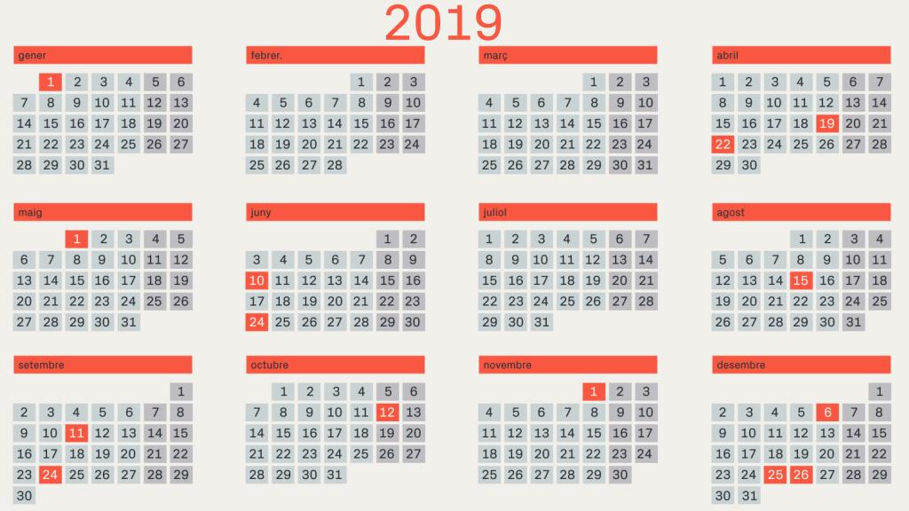 Calendari 2019 amb dies Festius a Catalunya per IMPRIMIR (en català)