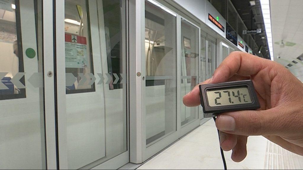 Temperatura a l'andana de l'estació de Foc
