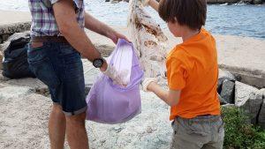 Els més petits també han volgut treure plàstic de la costa