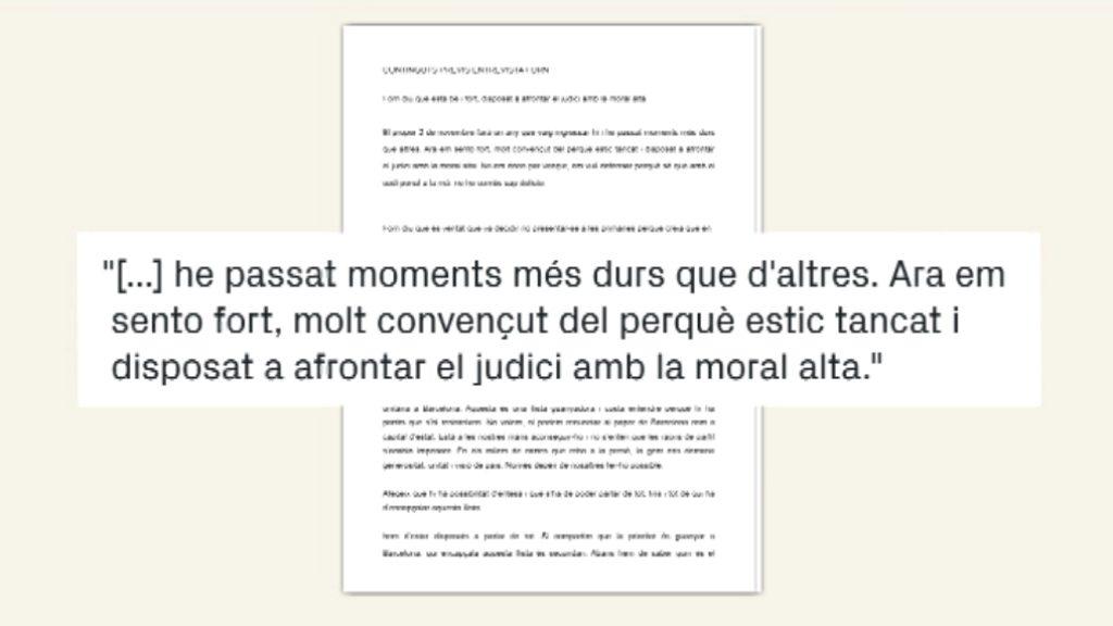 Carta de Joaquim Forn al 'bàsics' de betevé