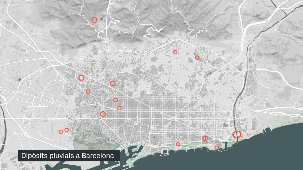 Mapa de dipòsits pluvials a Barcelona