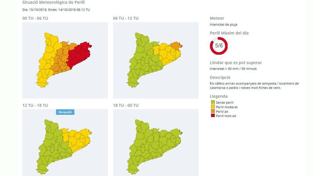 Mapa d'avisos d'intensitat de pluja