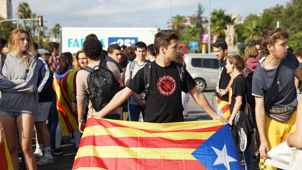 Els manifestants han marxat fins a la plaça de la Universitat, on s'ha fet la gran mobilització estudiantil