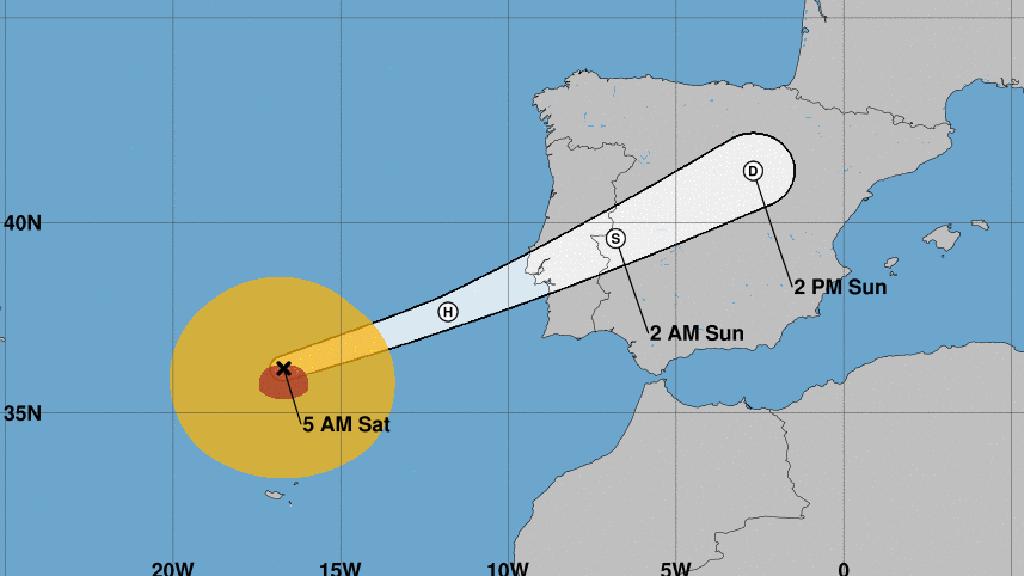 Trajectòria de l'huracà 'Leslie'