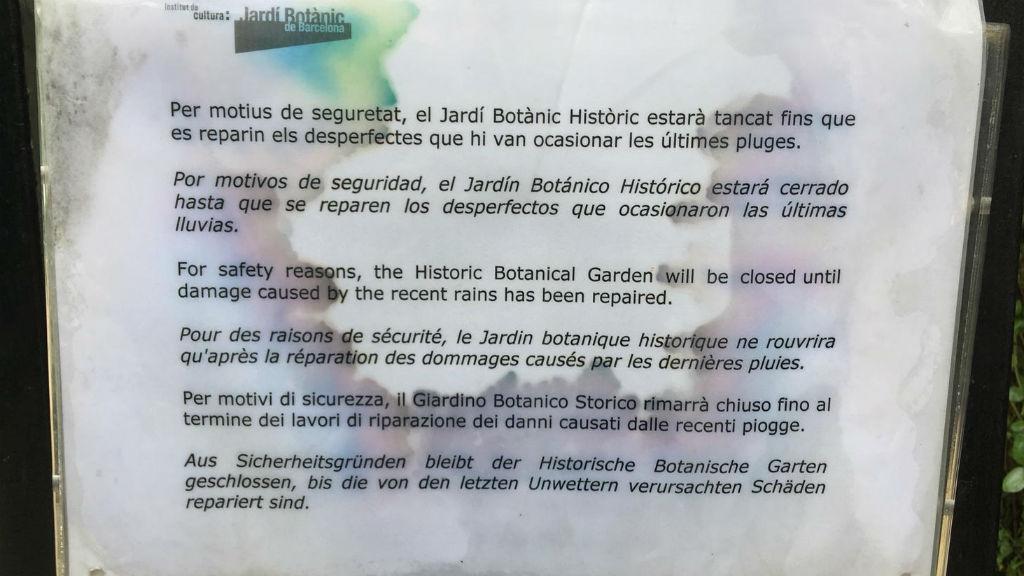 Jardi Botànic històric cartell de tancat