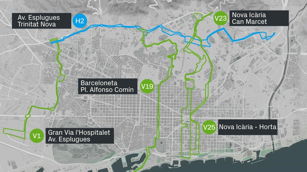 Mapa Línies Bus H2 V1 19 23 25