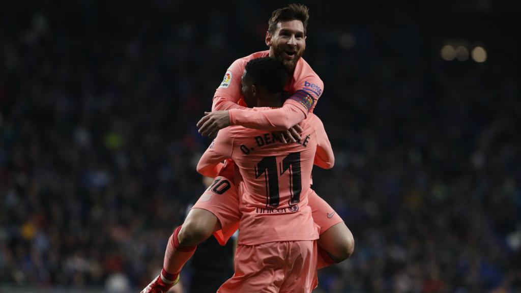 Messi i Dembélé, celebren un gol en l'Espanyol - FCB