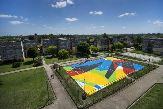 Floor paint on pitch court (Gener 2018)