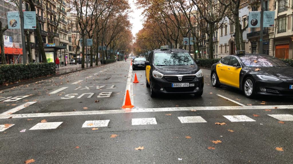 Taxistes Gran Via per la Cursa Sant Antoni