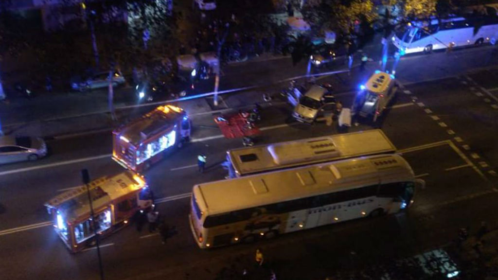 accident bus a la Gran Via