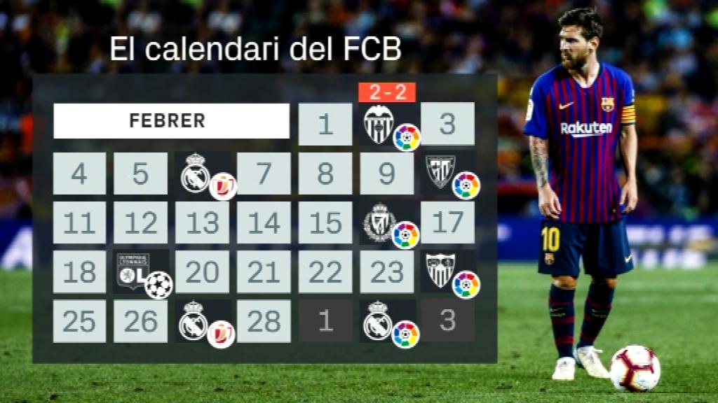 El calendari del Barça al mes de febrer