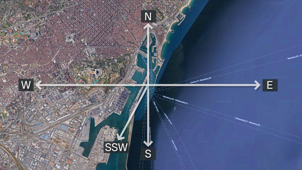 Les bocanes del Port de Barcelona estan orientades al sud