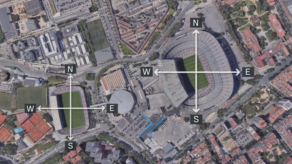 El Camp Nou i el Mini Estadi amb la visera a l'oest, per on es pon el sol
