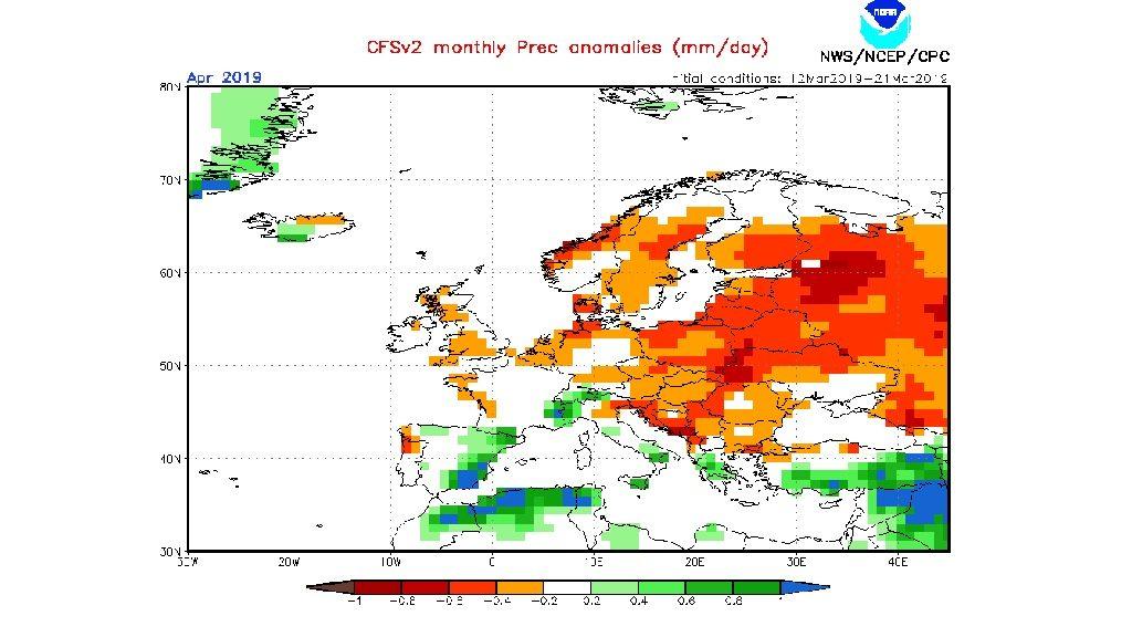 mapa NOAA anomalia pluja abril