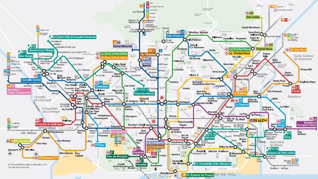 mapa metro barcelona 2019