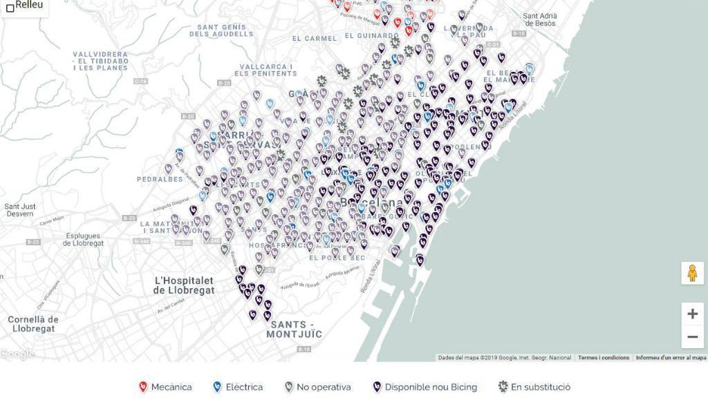 mapa bicing barcelona