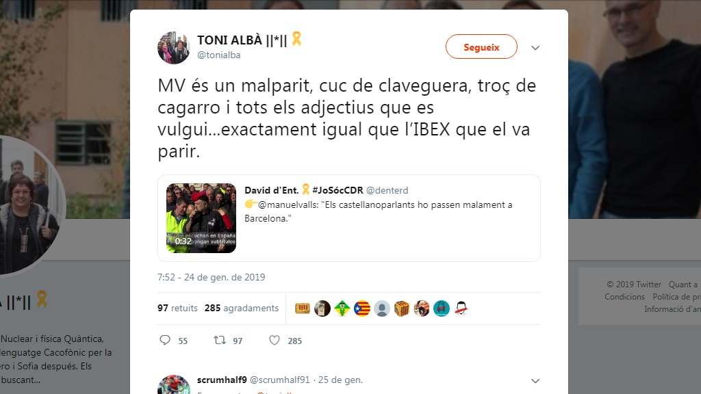 Tuit Toni Albà Manuel Valls