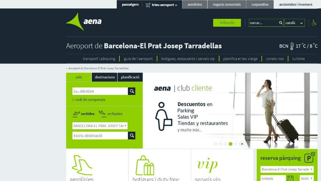 La web d'AENA utilitza una denominació diferent per l'aeroport que la publicada al BOE