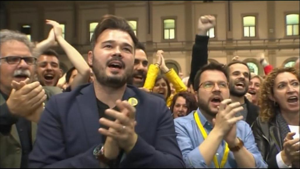 Rufián celebra el resultat d'ERC a les eleccions generals