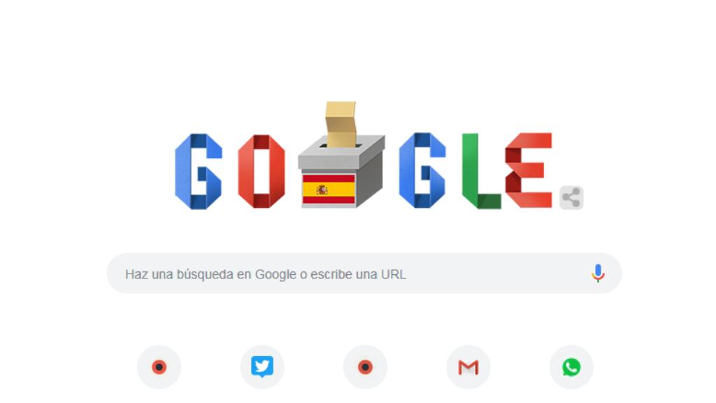 Pàgina inici Google el 28A