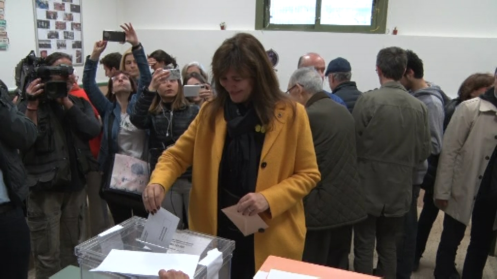 Laura Borràs votant el 28A