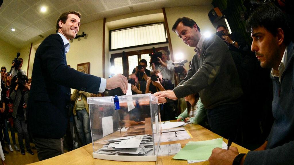 Pablo Casado votant el 28A