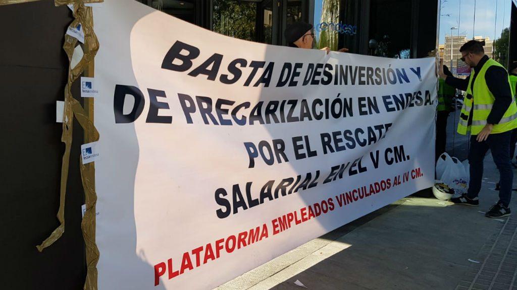 Pancarta vaga treballadors Endesa