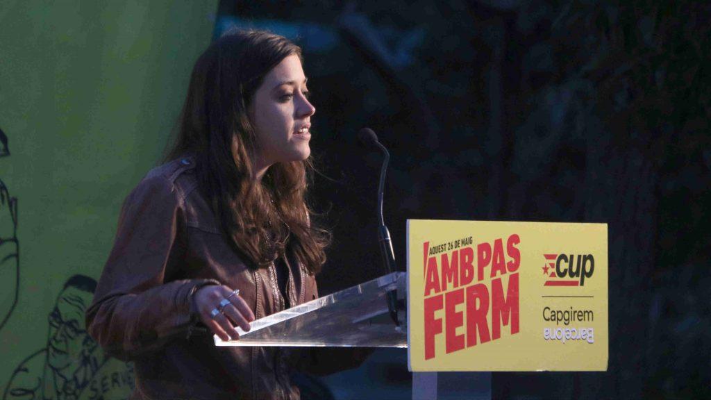 Anna Saliente en un acte de campanya de la CUP