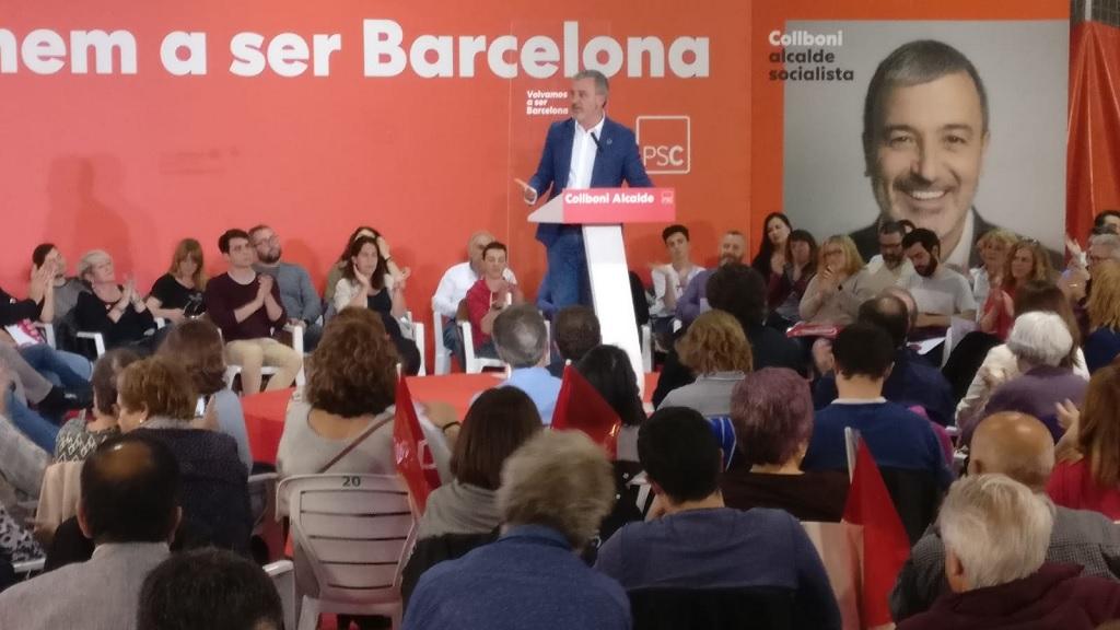 Jaume Collboni durant l'acte final de campanya