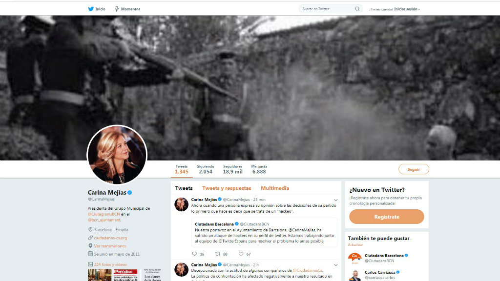 Perfil de Twitter hackejat de Carina Mejías