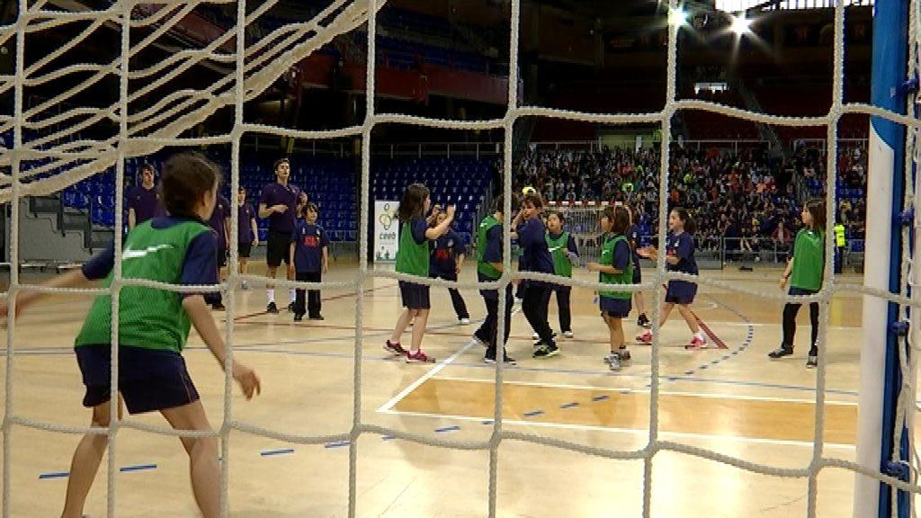 Entrenament de portes obertes Barça d'handbol