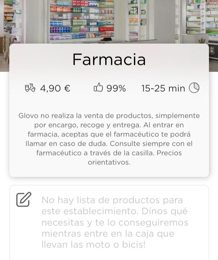 glovo comanda farmàcia