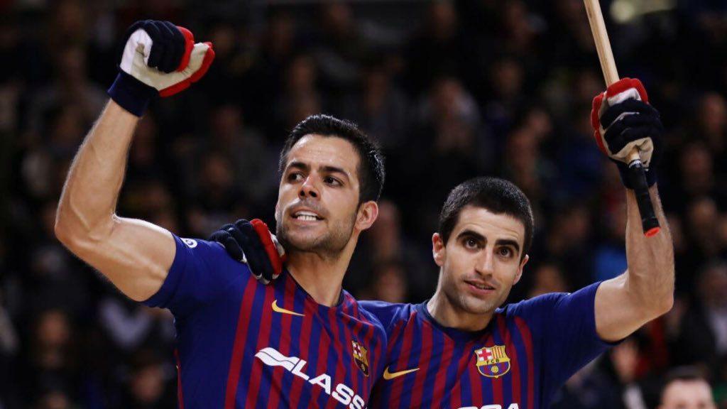 Joao Rodrigues celebra un gol amb Marc Gual