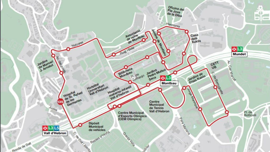Mapa recorregut bus 135