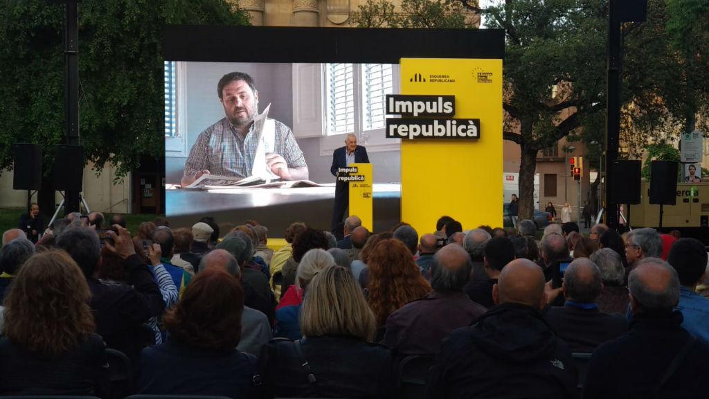 Ernest Maragall durant un acte de campanya a Sant Andreu