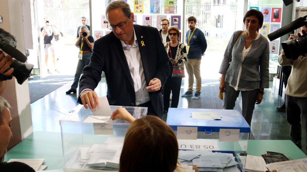 Quim Torra votant el 26-M