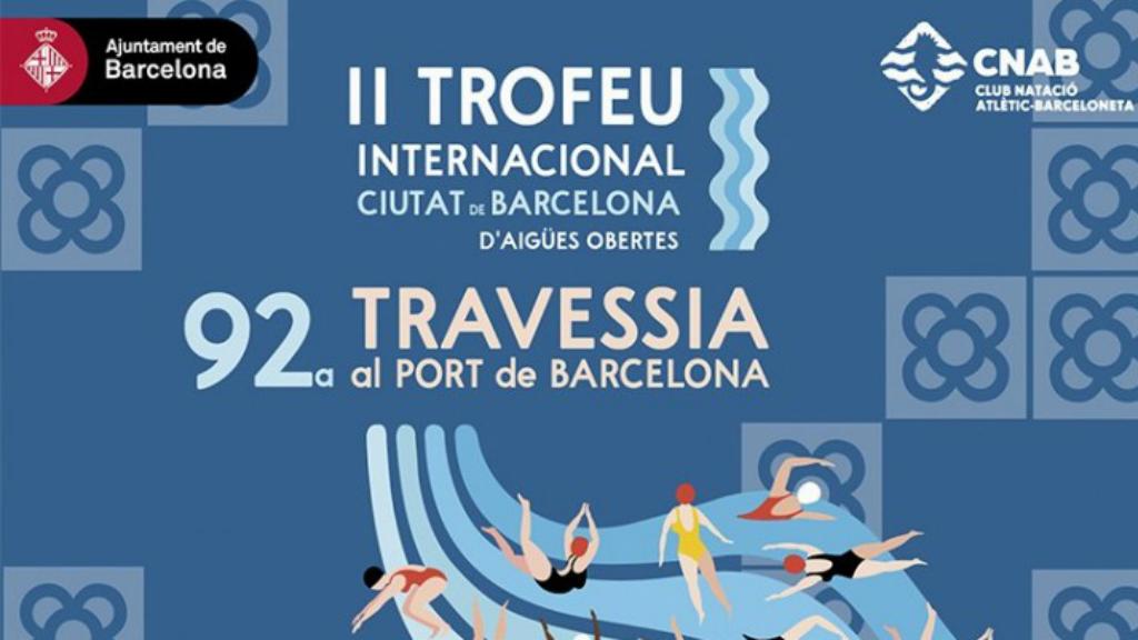 Cartell promocional Travessia Port Barcelona CN Atlètic-Barceloneta