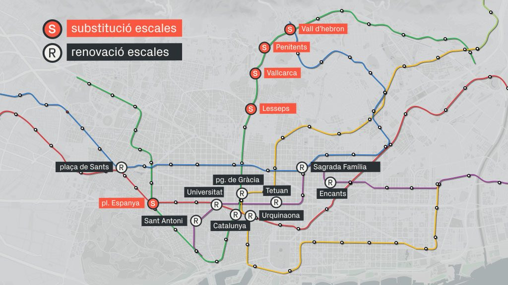 Mapa escales de metro