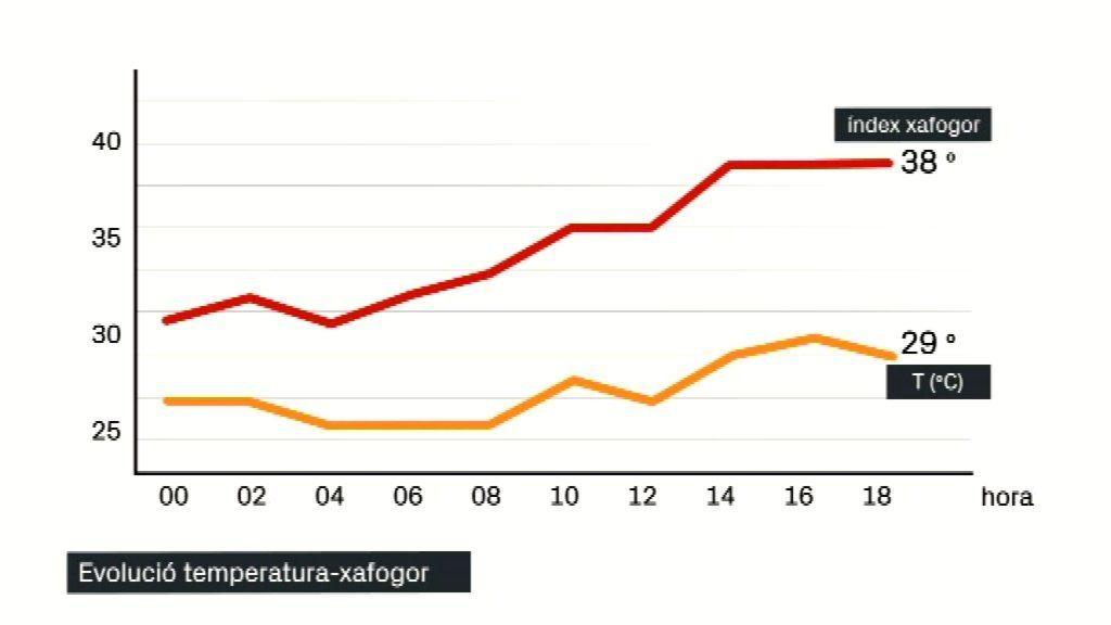 gràfica xafogor i temperatura a betevé 6-7-19