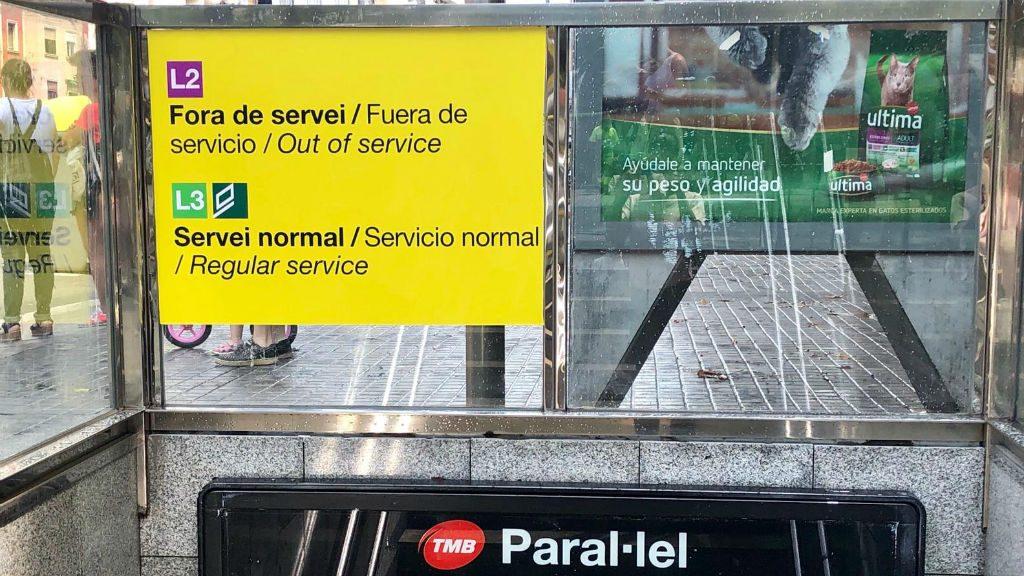 Metro Paral·lel tancat