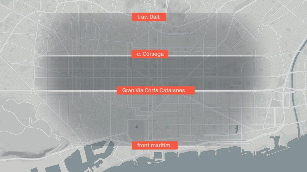 Mapa de contaminació a Barcelona
