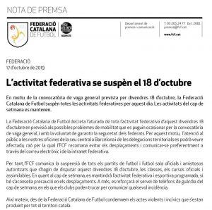 Comunicat Federació Catalana Futbol