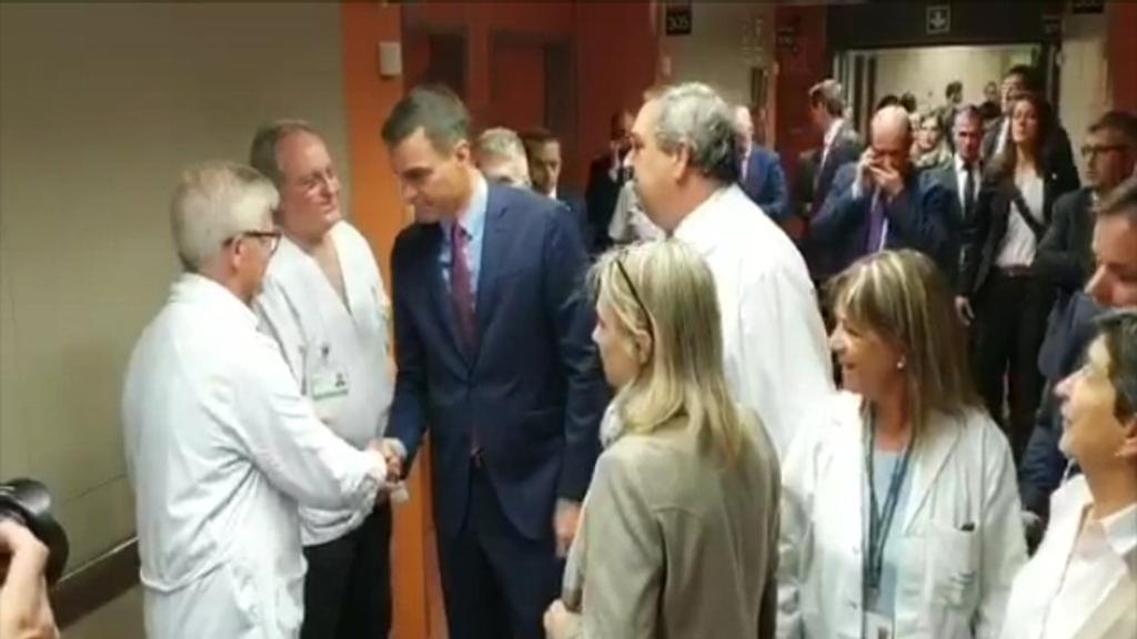 Pedro Sánchez a l'Hospital de Sant Pau