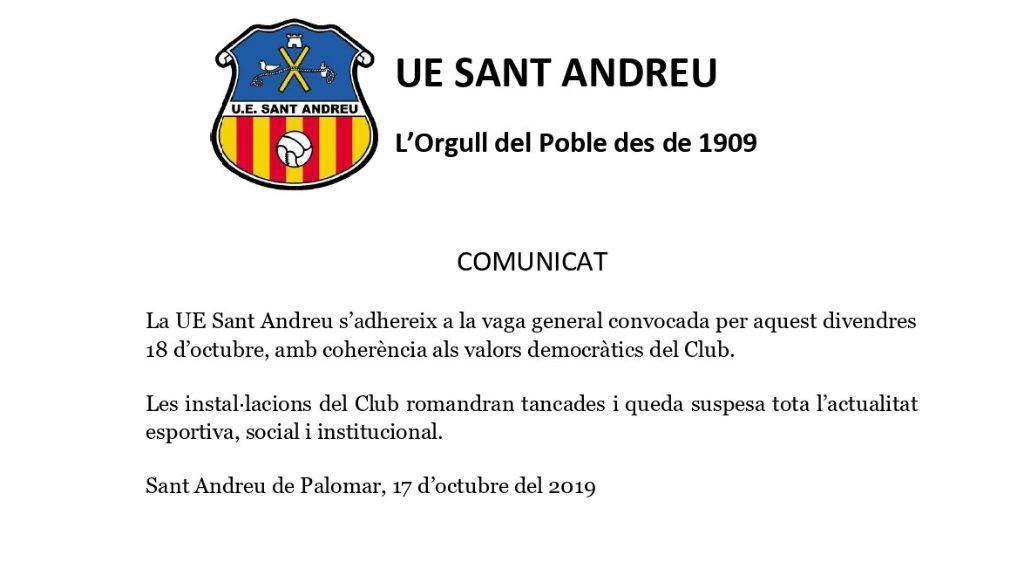 Comunicat UE Sant Andreu, vaga general